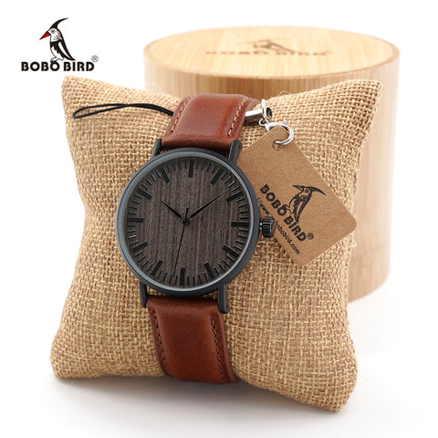BOBO BIRD Women Fashion Round Vintage Quartz Watch with Real Leather Strap in Gift Box (REF1042)