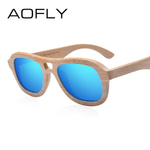 AOFLY BRAND DESIGN Wood Polarized Sunglasses for Women Handmade 9REF1213)