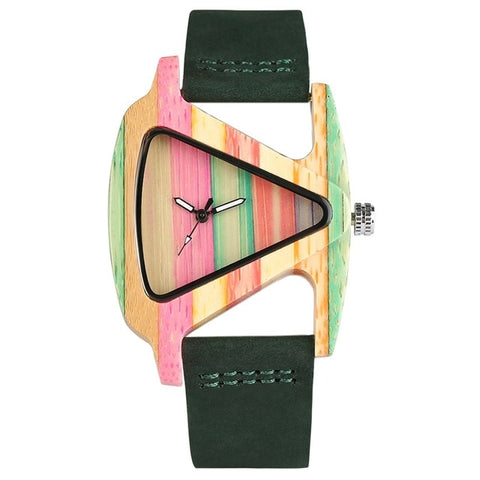 Unique Ladies Colourful Wooden Triangle Watch (REF1137)