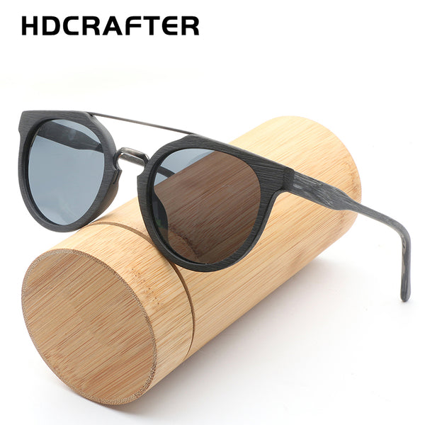 HDCRAFTER Round Vintage Wood Sunglasses Polarized Mens Brand Designer Sun Glasses (Ref5342)