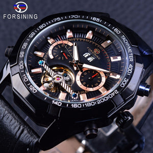 Forsining Steampunk Locomotive Sport Series Men's Automatic Tourbillion Wristwatch (REF 9009)