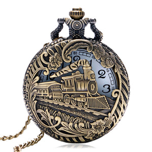 Vintage Hollow Bronze Locomotive Design Quartz Fob Pocket Watch (REF9001)