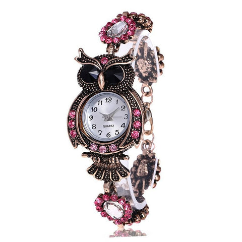 Vintage Women Rhinestone Owl Quartz Bracelet Watch Beautiful Wristwatch(Ref5320)