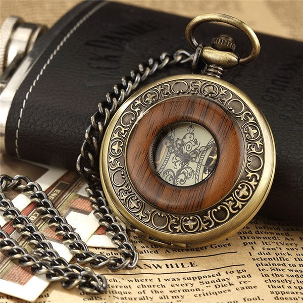 Wooden Circle Vintage Steampunk Mechanical Pocket Watch