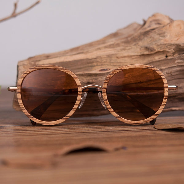 BOBO BIRD Ladies Zebra Bamboo Polaroid Sunglasses  in Wooden box (REF1022)