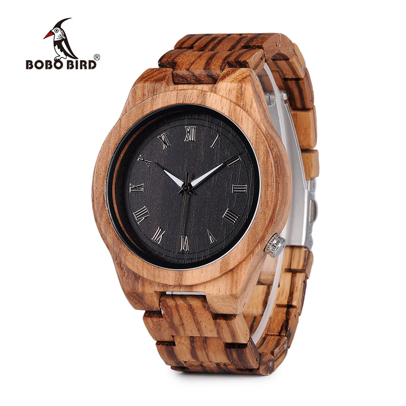 BOBO BIRD Mens Zebra Wood Quartz Wristwatch (REF1031)