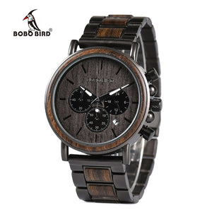 BOBO BIRD Mens Wooden Wristwatch,Stopwatch (REF1030)