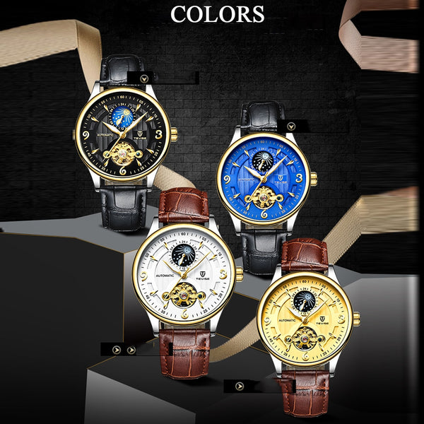 TEVISE Luxury Waterproof Automatic Men Mechanical Moon Phase Wristwatch (REF1167)