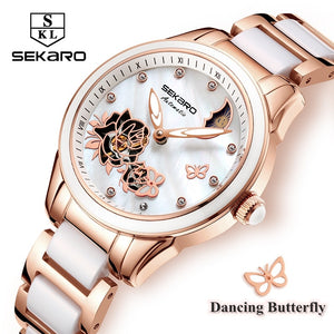 Sekaro Luxury Womens Ceramic Butterfly Design Mechanical Wristwatch(Ref5300)