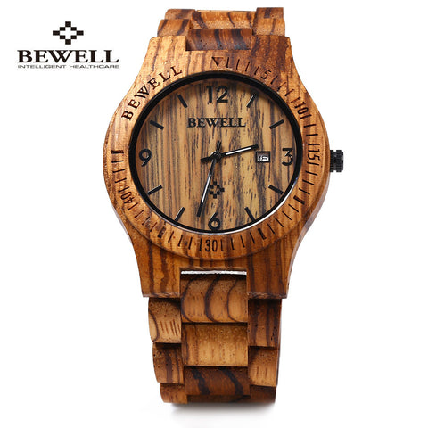 Bewell Luxury Mens Quartz Wooden Wristwatch (REF1016)