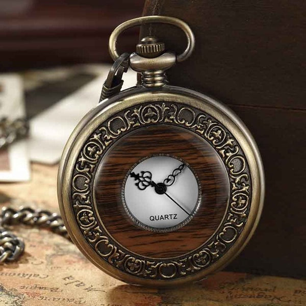 Box Package Solid Wood Mechanical Pocket Watch