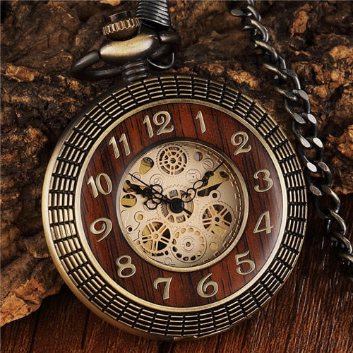 Vintage Wood Circle Carved Number Dial Mechanical Pocket Watch