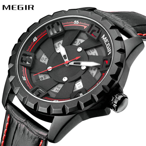 MEGIR Fashion Locomotive Wristwatch Men Luxury Genuine Leather (REF9010)