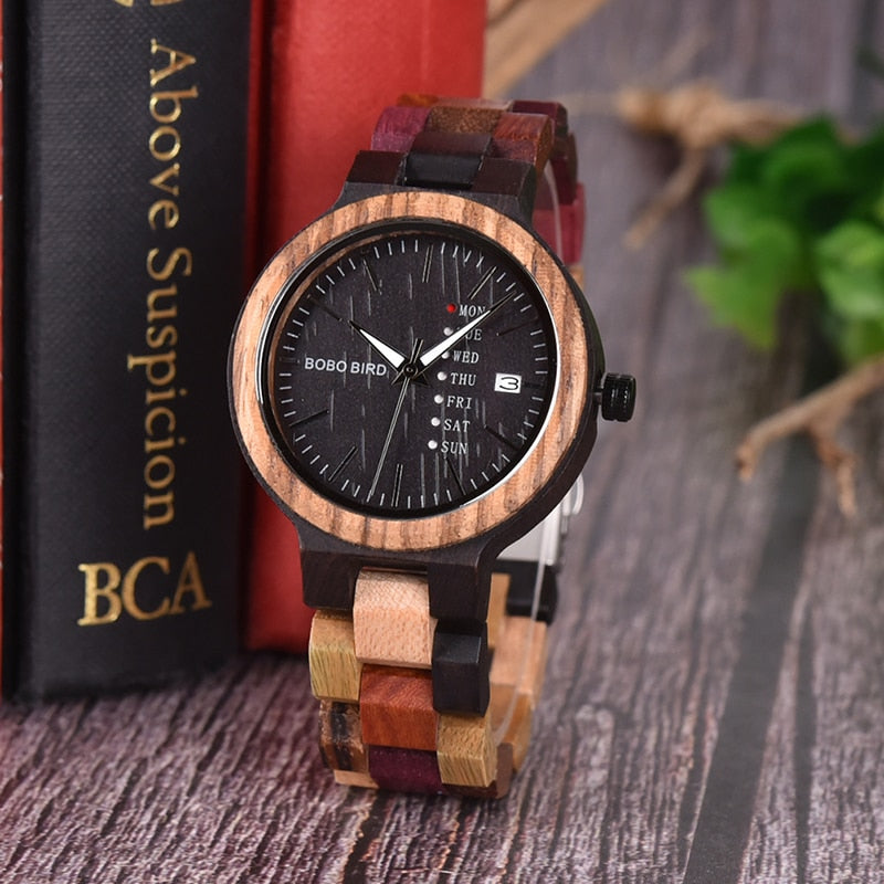 BOBO BIRD Bamboo Wooden Womens Wristwatch (REF1019)