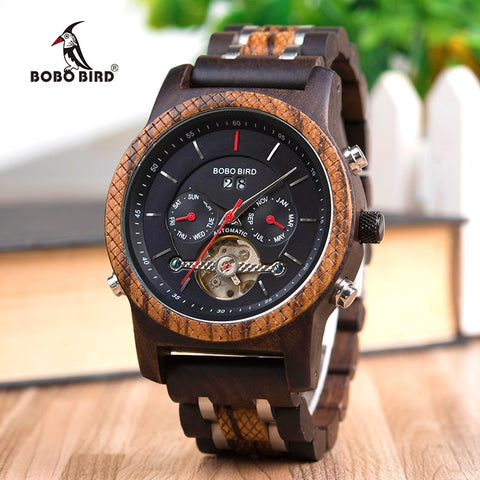 BOBO BIRD Wood Watches Men Mechanical Watch Automatic Wristwatch Mens relojes hombre forsining in Gift Wooden Box