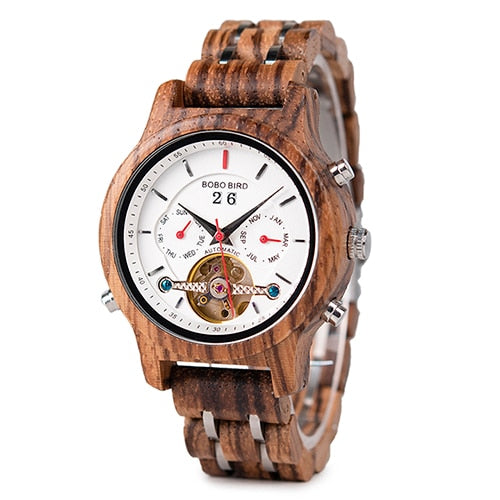 BOBO BIRD Wooden Mens Mechanical, Automatic Wristwatch in a Wooden Gift Box (REF1168)