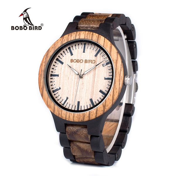 BOBO BIRD Unisex Wooden Wristwatch  in Gift Box with tool to adjust size (REF1039)