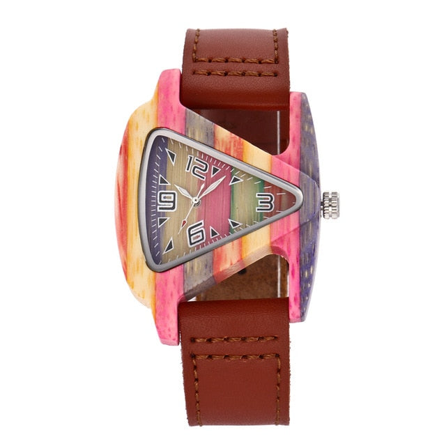 ALK Ladies Wooden Triangular Wristwatch (REF1010)