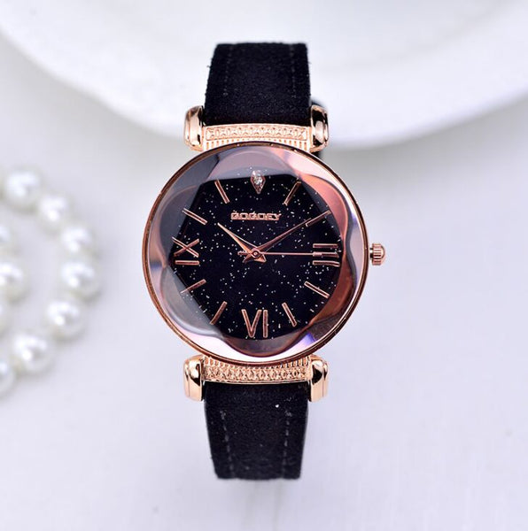Gogoey Rose Gold Leather Strap, Ladies Casual Watch (REF1085)