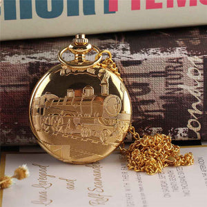 Vintage Gold Locomotive Motor Railway Train Steampunk Pocket Watch For Men (REF9002)