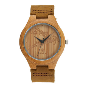 Womens/ Mens Wooden Genuine Leather Bamboo Wood Deer Watch (REF2009)