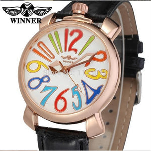 Women Automatic Mechanical Wrist Watch with PU Band