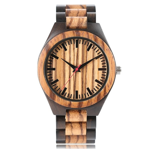 Wooden Wristwatch Mens Stripe Dapple Pattern Bamboo Strap Quartz Watch (REF1162)