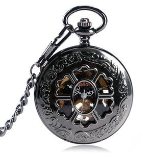 Vintage Pocket Watch, Mechanical Pocket Watches for Men Women, Flower Stylish Pendant Pocket Watch Gift