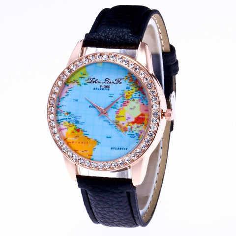 Travel world pattern women and men pebble leather quartz wrist watch (REF7105)