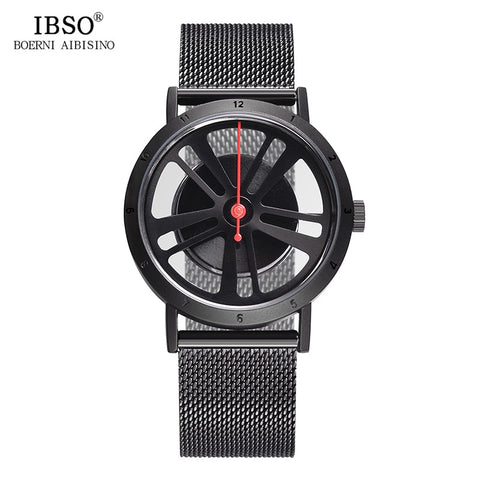 IBSO Brand Fashion Hollow Out Wheel Design Rotate Dial Quartz Wristwatch Men (REF9007)