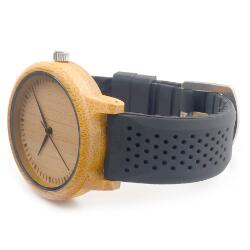 BOBO BIRD  Ladies' Luxury Bamboo Wooden Timepieces, Silicone Strap (REF1018)