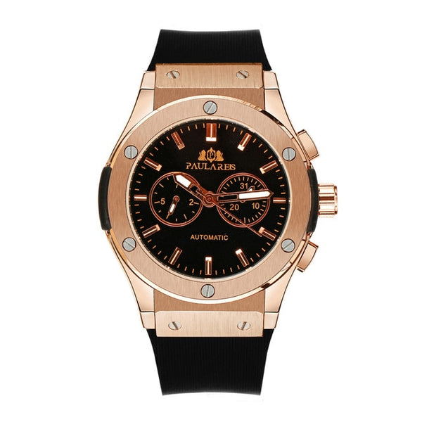 Men Automatic Self Wind Mechanical Rose Gold Silver /Black Case Wristwatch (REF1177)