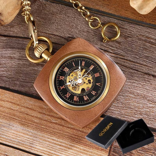 Wooden Case Mechanical Pocket Watch