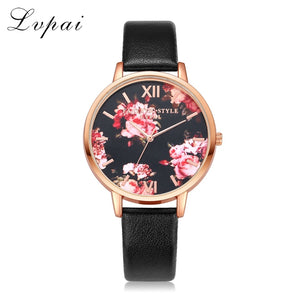 Fashion Leather Strap, Rose Gold Womens Casual Wristwatch (REF1076)