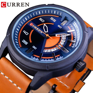 CURREN Orange Genuine Leather Belt 2018 Locomotive Steampunk Design Motorcycle Mens Sport Quartz Watch (REF9006)