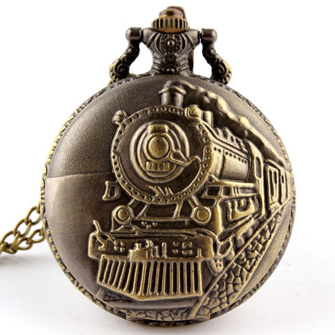 Retro Vintage Locomotive Railway Engine Pendant Chain Clock Watches Pocket Watch (REF9012)