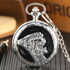 Steampunk Pocket Watch 3D Running Locomotive Carving Fob Chain Cool Steam Train (REF7005)