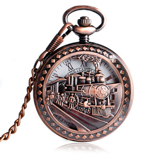 Locomotive Exquisite Running Steam Train Mechanical Hand Wind Pocket Watch (REF7004)