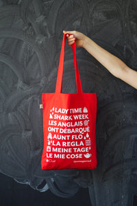 #justsayperiod tote bag