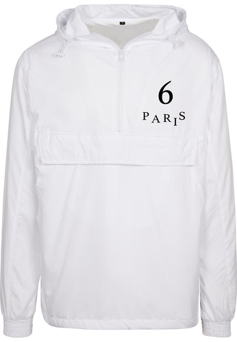6 PARIS SAINT GERMAIN | PULLOVER JACKET | WHITE + BLACK