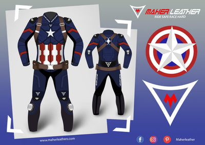 Captain America Motorbike Suit