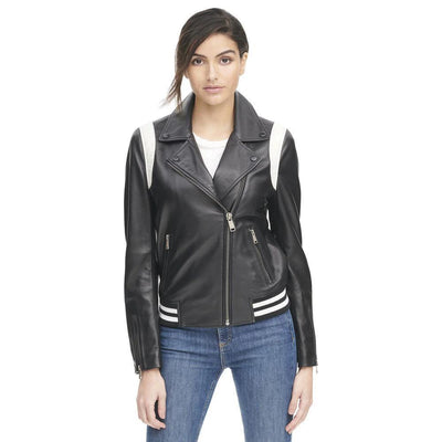 Asymmetric Leather Bomber W/White Stripe Accents - Maherleather