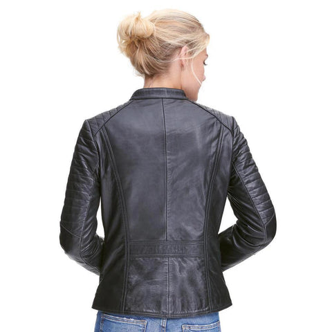 Asymmetrical Lamb Moto Jacket W/ Quilting - Maherleather
