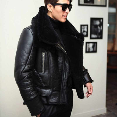 B3 Bomber Jacket Men Winter Wool Lamb Fur Aviator Jacket - Maherleather