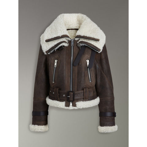 B3 Bomber Reissued leather Jacket Shearling - Maherleather
