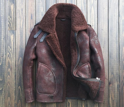 B3 Bomber sheepskin leather shearling wool jackets - Maherleather