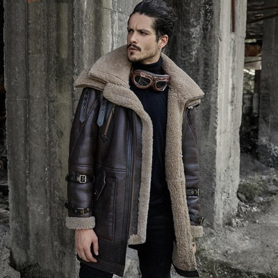 B3 Flight Jacket Men's Shearling Aviator Fur Long Coat - Maherleather