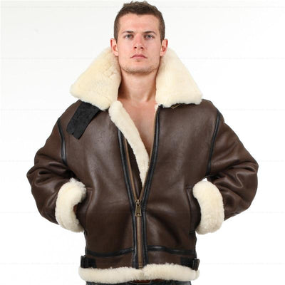 B3 shearling Leather jacket Bomber Fur pilot World Flying aviation air military US Force - Maherleather