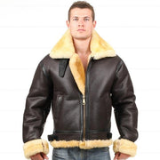 B3 shearling Leather jacket Bomber Fur pilot World Flying aviation