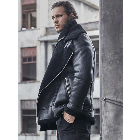 B3 Sheepskin Shearling Coat Motorcycle Classic Leather Bomber Jacket - Maherleather